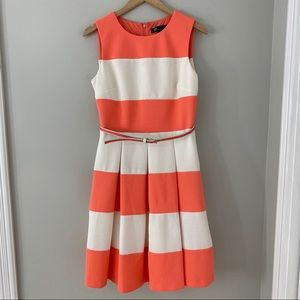 Chetta B Pink Coral White Dress